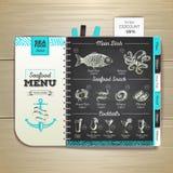 Chalk drawing seafood menu design. Royalty Free Stock Photo