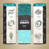 Chalk drawing seafood menu design. Stock Photography