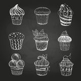 Chalk drawing. Set of cakes Royalty Free Stock Photo