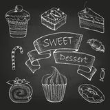 Chalk Drawing. Set Of Cakes Royalty Free Stock Photography