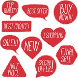 Chalk drawing shopping labels set Royalty Free Stock Photo
