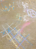 Chalk drawing on sidewalk Stock Images