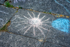 Chalk drawing of the sun Royalty Free Stock Photo