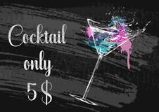 Chalk drawing typography cocktail menu design. Royalty Free Stock Photography