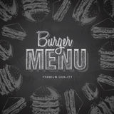 Chalk drawing typography fast food burger menu design Stock Photography