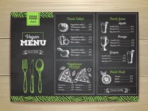 Chalk drawing vegetarian food menu design. Vintage chalk drawing vegetarian food menu design Stock Photo