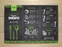 Chalk drawing vegetarian food menu design. Stock Photo