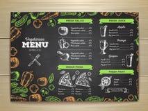 Chalk drawing vegetarian food menu design. Royalty Free Stock Photography