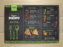 Chalk drawing vegetarian food menu design. Royalty Free Stock Photos