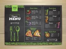 Chalk drawing vegetarian food menu design. Royalty Free Stock Photos