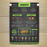 Chalk drawing vegetarian food menu design. Vintage chalk drawing vegetarian food menu design Stock Photos
