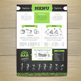Chalk drawing vegetarian food menu design. Royalty Free Stock Images