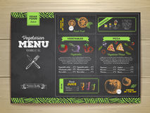 Chalk drawing vegetarian food menu design. Royalty Free Stock Image