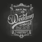 Chalk drawing.Wedding decorations Royalty Free Stock Image