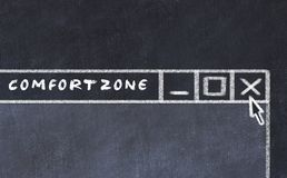 Chalk drawing of window on computer screen. Concept of stopping comfort zone.  royalty free illustration