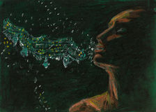 Chalk drawing of woman singing Royalty Free Stock Images
