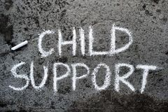 Chalk drawing: words CHILD SUPPORT. Colorful chalk drawing on asphalt: words CHILD SUPPORT stock photo