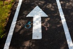 Chalk drawings on the asphalt. Gender symbols on the pavement stock photo