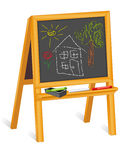 Chalk Drawings on Blackboard, Wood Easel Stock Images