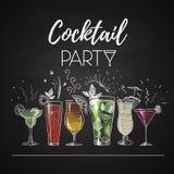 Chalk Drawings. Cocktail Menu Stock Images