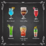 Chalk drawings. cocktail menu stock illustration