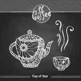 Chalk drawings. Decorative cup of coffee. Or tea Royalty Free Stock Image