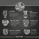 Chalk drawings. Decorative cup of coffee Royalty Free Stock Photos