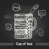 Chalk drawings. Decorative cup of coffee. Or tea stock illustration