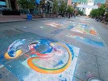Chalk Drawings. Denver, Colorado-June 3, 2012: 2012 Denver Chalk Art Festival on Larimer Square. Denver, Colorado stock illustration