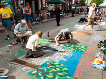 Chalk Drawings. Denver, Colorado-June 3, 2012: 2012 Denver Chalk Art Festival on Larimer Square. Denver, Colorado Stock Photos