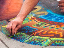Chalk Drawings. Denver, Colorado-June 3, 2012: 2012 Denver Chalk Art Festival on Larimer Square. Denver, Colorado Stock Image