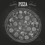 Chalk drawings. Pizza stock illustration