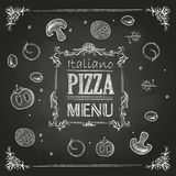 Chalk drawings. Pizza vector illustration