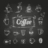 Chalk drawings. Set of coffee cups. Chalk drawings. Set of  decorative coffee cups Royalty Free Stock Image
