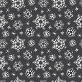 Chalk drawn on black board snowflakes winter seamless pattern Stock Images