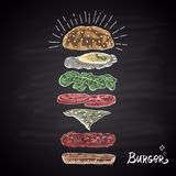 Chalk drawn colored components of burger. Stock Photos