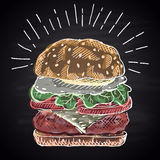 Chalk drawn colored illustration burger. Royalty Free Stock Photos