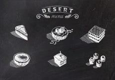 Chalk drawn deserts on school board. Vector illustration Royalty Free Stock Photo
