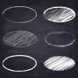 Chalk drawn ellipse on chalkboard background. Set of chalk drawn ellipses. Geometric figures on chalkboard background. Free hand drawn illustration. Imitation stock illustration