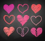 Chalk drawn hearts Stock Photos