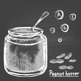 Chalk drawn illustration of bank with peanut butter. Royalty Free Stock Photo