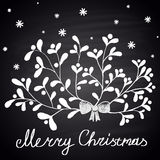 Chalk drawn illustration with branch of mistletoe, snowflakes and ''Merry Christmas'' text. Happy New 2016 Year Theme. Card design Royalty Free Stock Photography