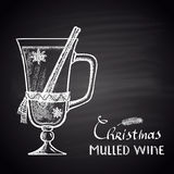 Chalk drawn illustration of Christmas mulled wine. Royalty Free Stock Photos