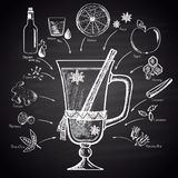 Chalk drawn illustration of Christmas mulled wine with ingredients. Stock Image