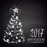 Chalk drawn illustration with Christmas tree and text. Happy New 2017 Year theme. Royalty Free Stock Photo