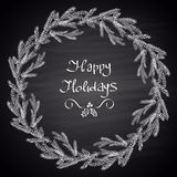 Chalk drawn illustration with Christmas tree wreath, cones and text. Stock Photography