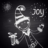 Chalk drawn illustration with elf in traditional costume with a gift, Joy text and salutes on black chalkboard. Happy New 2016 Year Theme. Card design Royalty Free Stock Photography