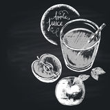 Chalk drawn illustration of full glass with apple juice. Healthy nutrition. Copy space Stock Image