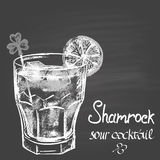 Chalk drawn illustration with shamrock sour cocktail with lime and ice for St. Patrick's Day. Holidays theme. Stock Images