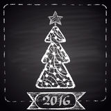 Chalk drawn illustration with white Christmas tree, dotted frame, ribbon and text '2016'. Happy New Year Theme. Holidays collection. Card design vector illustration